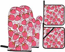 IUBBKI Strawberry Pink Oven Mitts and Pot Holders