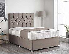 Ivan Silver Plush Velvet Divan Bed Set, 24 Inch
