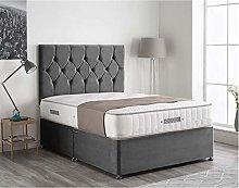 Ivan Steel Grey Plush Velvet Divan Bed Set, 24