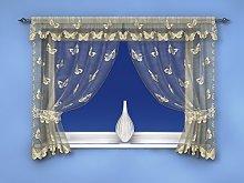 Ivory/Cream Butterfly Pattern Window Curtain Net