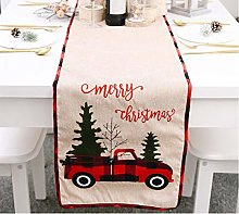 IvyH Christmas Table Runner, Red Plaid Linen Table