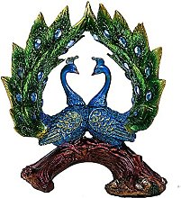 J-Clock Peacock Statues for Home Decor Figurines,