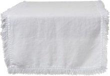 J-Line - White Linen Table Runner with Fringes