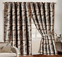 Jacquard Curtains Pair Fully Lined Ring Top Free