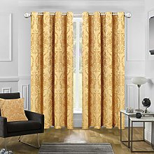 Jacquard Curtains Pair Fully Lined Ring Top With