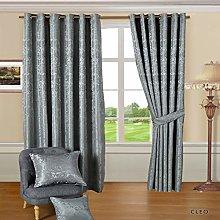 Jacquard Pair Curtain Fully Lined Ring Top Eyelet