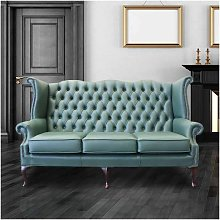 Jade Green Leather Chesterfield 3 Seater High Back