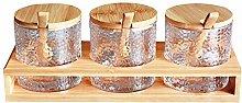 Jaimenalin 3 Bottles/Set Bamboo Lid Condiment Pot
