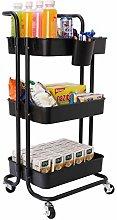 JAKAGO Kitchen Trolley on Wheels 3 Tier Basket