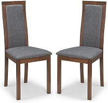 Jakey Dining Chairs In Walnut With Grey Linen