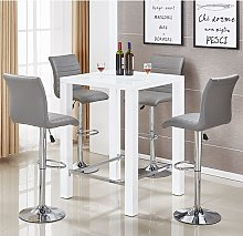 Jam Glass Bar Table Set In White Gloss 4 Ripple