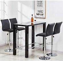 Jam Glass Bar Table Set Rectangular Black Gloss 4