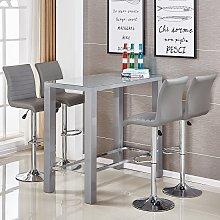 Jam Glass Bar Table Set Rectangular Grey Gloss 4