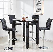 Jam Glass Bar Table Set Square In Black Gloss 4