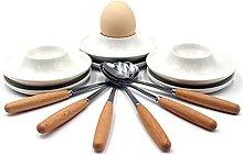JAMOR Round Egg Ceramic Egg Cup White Ceramic Egg