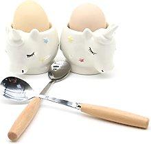 JAMOR Unicorn Egg Cup Ceramic Egg Cup Set Egg Cups