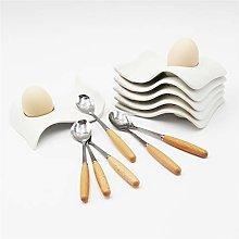 JAMOR White Porcelain Egg Tray,Wave-Shaped Ceramic