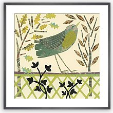 Jane Robbins - 'Trellis Bird' Wood Framed