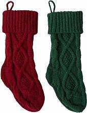 Jannyshop Knitted Socks Knitted Christmas Stocking