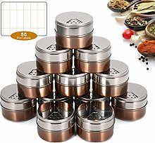 Janolia Magnetic Spice Tins Set, 12PCS Stainless