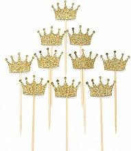 JANOU Gold Glitter Crown Cake Cupcake Topper for