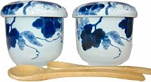Japanese Chawan Mushi Cups with Lid and Spoon Mino