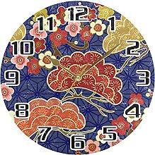 Japanese Cherry Flower Wall Clock Silent Non
