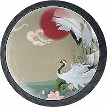 Japanese Cranes at Sunset Cabinet Door Knobs