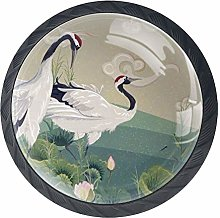 Japanese Cranes Sunset Cabinet Door Knobs Handles