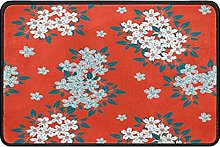 Japanese Floral Doormat Rug Easy to Clean Non Slip
