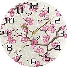 Japanese Floral Wall Clock Silent Non Ticking,