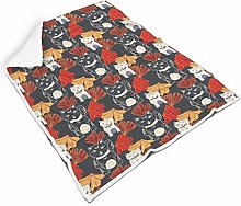 Japanese Lucky Cat Square Throw Blanket Warm Soft