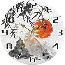 Japanese Mountain Bamboo Wall Clock Silent Non