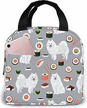 Japanese Spitz and Sushi Fabric Cute Dog and Sushi