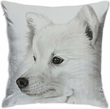 Japanese Spitz Portrait Pillow Cover Decorative