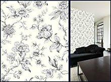 Jardin Toile De Jouy Wallpaper Black 173102