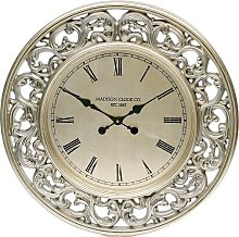Jason Wall Clock Round In Antique Silver Leaf