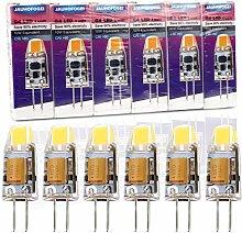 JAUHOFOGEI 6pcs G4 Capsule 1W LED COB Bulbs (Cool