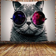 JAWO Cool Cat Tapestry Wall Hanging, Hippie Animal