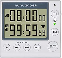 Jayron 2-Channel Timer with Clock Kitchen Timer
