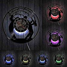 Jazz Music Wall Clock With Led Light Art Vinyl