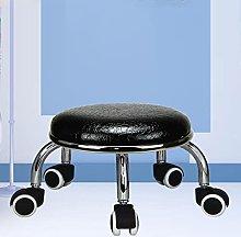 JBTM Swivel Foot Stool with Wheels Round Leather