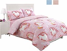JD Linens Unicorn Blue and Baby Pink Print Duvet