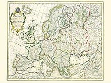 Jean Claude Dezauche Map Of Europe Large Wall Art