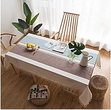 JEANS Table Cloth, Cotton and Linen, Tassels,