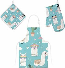 jeansame Apron and Oven Glove Mitt Pot Holder Set