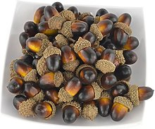 JEDFORE 60PCS Artificial Fruit Nutty-brown Acorns
