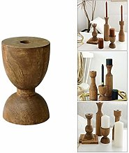 jeerbly Vintage Wooden Candlesticks Home