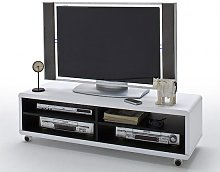 Jeff7XL Lowboard LCD TV Stand In White And Black
