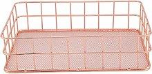 Jeffergrill Rose Gold Iron Metal Storage Basket